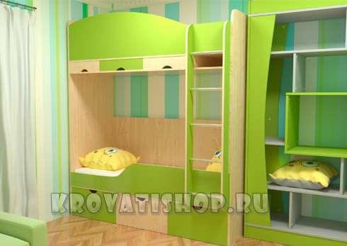 """Двухъярусная кровать """"Уют"""" с кроваткой для новорожденного"""