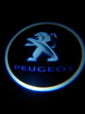 Подсветка дверей авто с логотипом PEUGEOT штатная